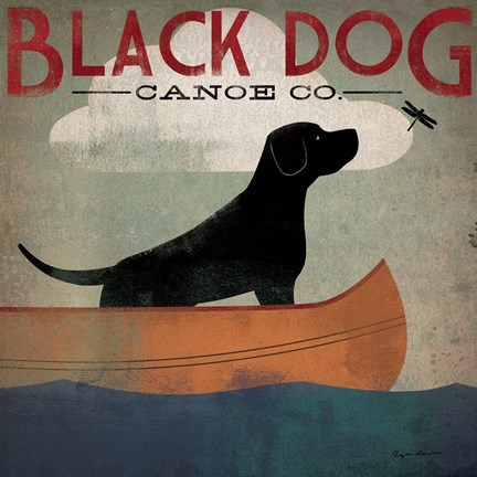 Framed Black Dog Canoe Print