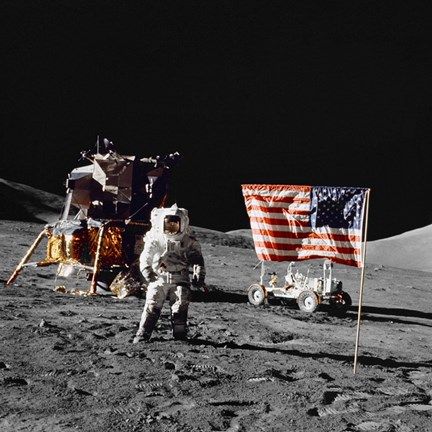 Framed Apollo 17 Astronaut Stands Near the United States Flag on the Lunar Surface Print