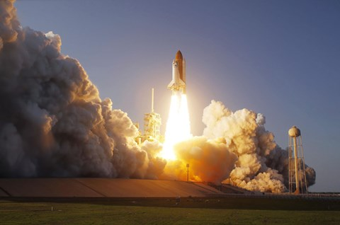 Framed Space Shuttle Discovery lifts off from its Launch Pad at Kennedy Space Center, Florida Print