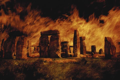 Framed Composite Image of Stonehenge and Fire Print