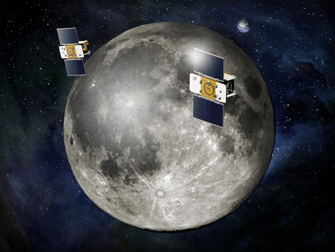 Framed Artist's Concept of Twin GRAIL Spacecraft Orbiting the Moon Print