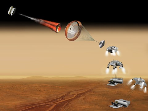 Framed Artist's Concept of a Proposed Mars sample Return Mission Print