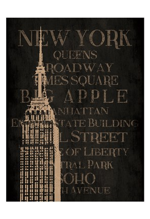 Framed Burlap New York Print
