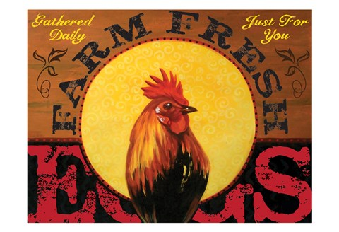 Framed Farm to Table Rooster 01 Print