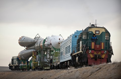 Framed Soyuz TMA-18 Spacecraft is Transported by Railcar to its Launch Pad Print
