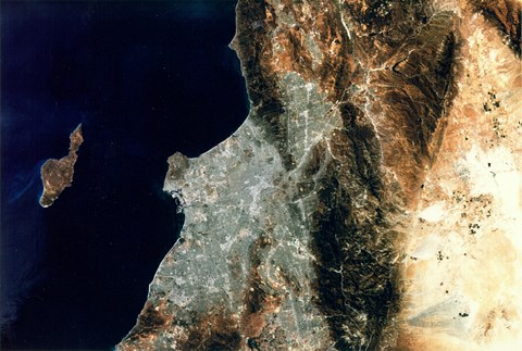 Framed Satellite view of Los Angeles, California Print