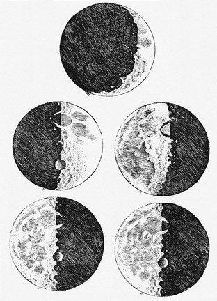 Framed Galileo's Drawings of the Phases of the Moon Print