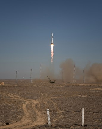Framed Soyuz TMA-16 Launches from the Baikonur Cosmodrome in Kazakhstan Print