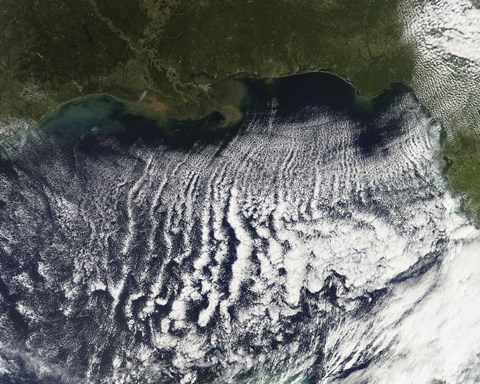 Framed Cloud Streets are Visible Stretching out into the Gulf of Mexico Print