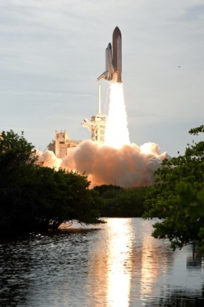 Framed Space Shuttle Endeavour Lifts off from its Launch pad at Kennedy Space Center, Florida Print