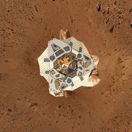 Framed Spirit's Lander at Gusev Crater from an Overhead View Print