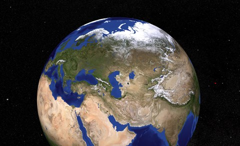 Framed Blue Marble Next Generation Earth showing the Middle East Print