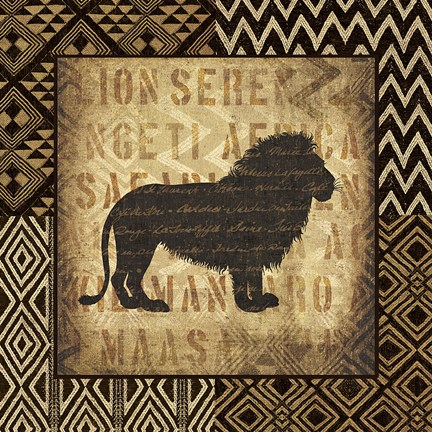 Framed African Wild Lion Border Print