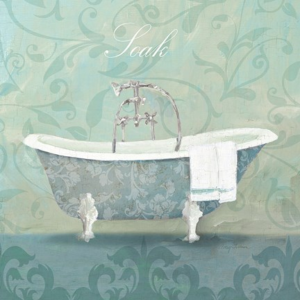 Framed Damask Bath Tub Print