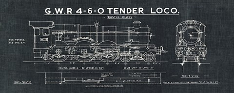 Framed Train Blueprint III Black Print