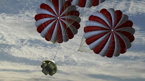 Framed Concept of the Second Stage Recovery Parachutes Opening as a Crew Exploration Vehicle Descends to Earth Print