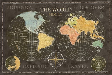 Old world journey map black fine art print by cynthia coulter at framed old world journey map black print sciox Gallery