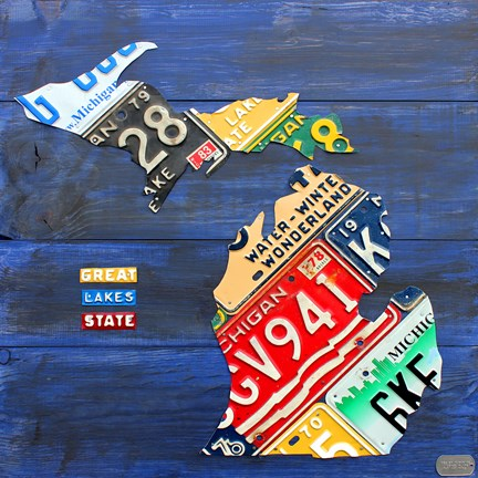 Framed Michigan Blue License Plate Map Print