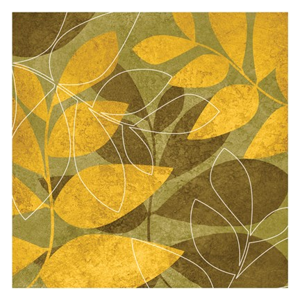 Framed Yellow Brown Leaves 1 Print