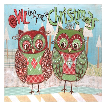 Framed Christmas Owls 2A Print