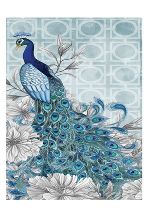 Framed Monochrome Peacocks Blue 1 Print