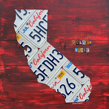 Framed California License Plate Map - Red Print