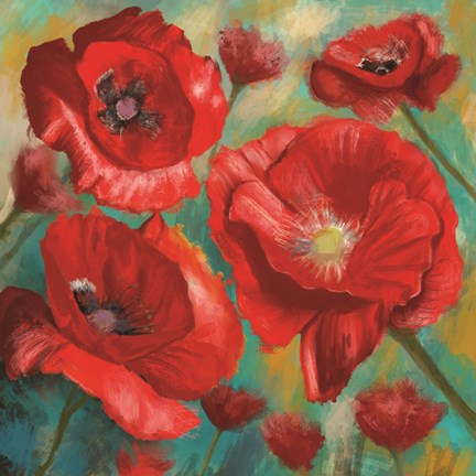 Framed Red Poppies Bloom of Joy Print