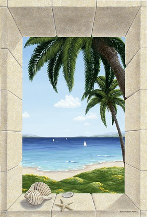 Framed Hawaiian Fantasy with Shells Print