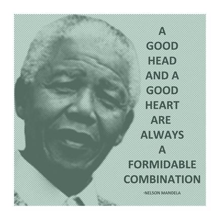 A Good Head And A Good Heart Nelson Mandela Quote Fine Art Print