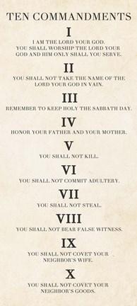Ten Commandments Roman Numerals Fine Art Print By Veruca