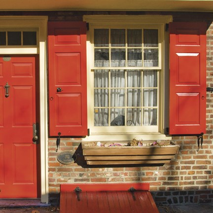 Framed Red Door, Red Shutters Print