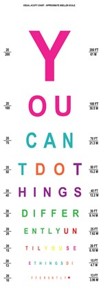 Framed You Can't Do Things Differently  - Eye Chart 2 Print