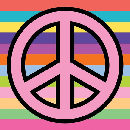 Framed Peace - Pink on Stripes Print