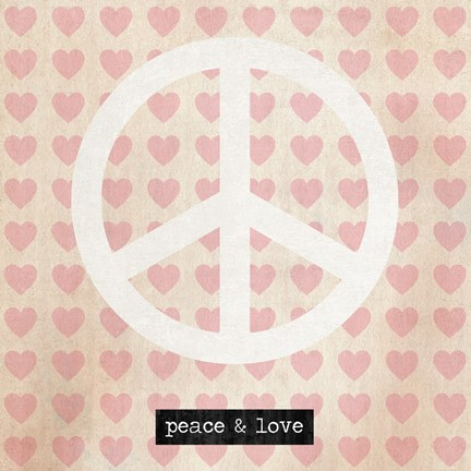 Framed Peace - Pink Hearts Print