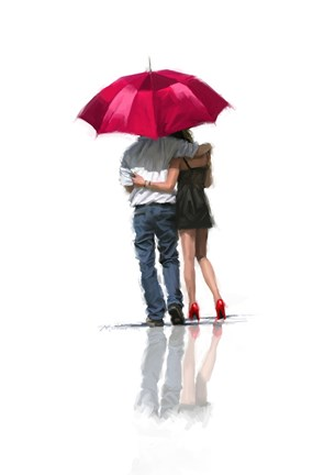 Framed Couple Under Umbrella Print