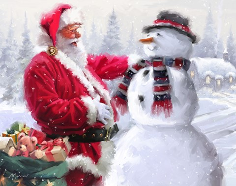 Santa And Snowman 3 Fine Art Print By The Macneil Studio