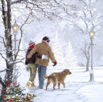 Couple Walking Dog Fine Art Print By The Macneil Studio At