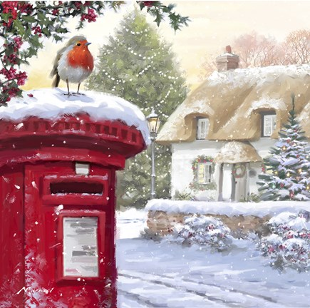 Framed Robin On Post Box 2 Print