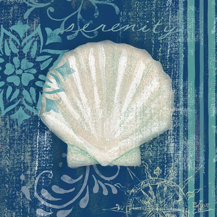 Framed Navy Blue Spa Shells III Print