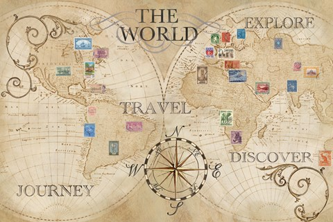 Old world journey map stamps cream fine art print by cynthia coulter framed old world journey map stamps cream print gumiabroncs Image collections