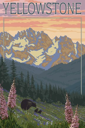 Yellowstone Mountains Fine Art Print By Lantern Press At