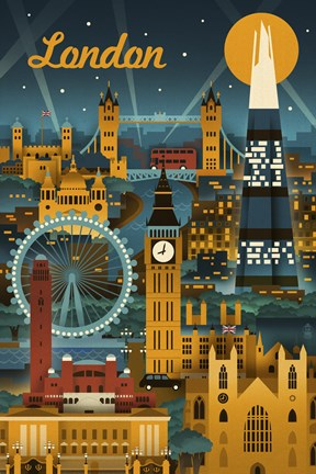 Framed London Evening Ferris Wheel Print