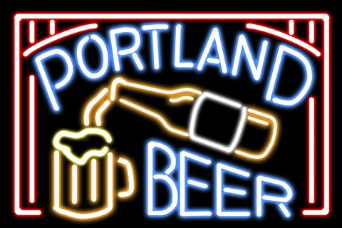 Framed Portland Beer Fluorescent Sign Print