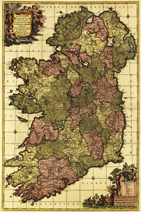 Framed Old Map of Ireland Print