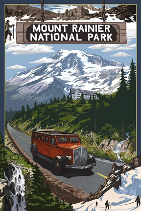 Framed Mount Rainier National Park II Print