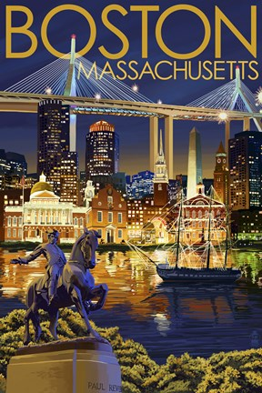 Boston Massachusetts Paul Revere Fine Art Print By Lantern