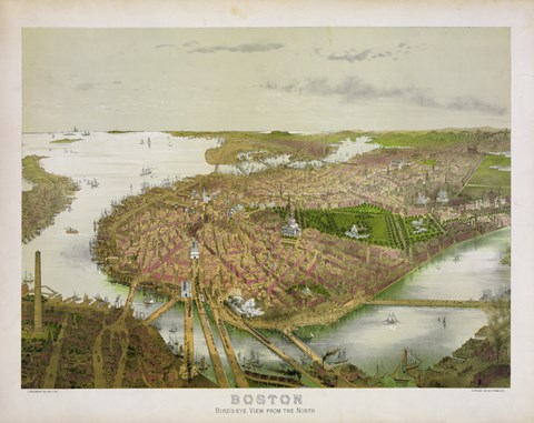 Framed Boston From the Air, 1877 Print