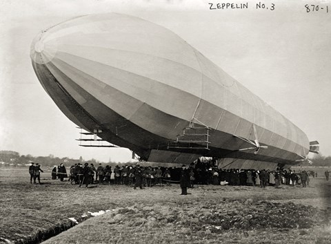 Framed Blimp, Zeppelin No. 3, on Ground Print