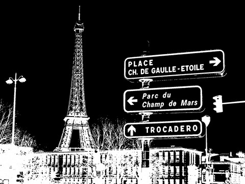 Framed Photograph of street signs in Paris - Black Print