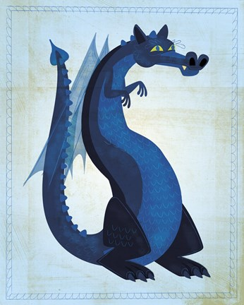 Framed Blue Dragon Print
